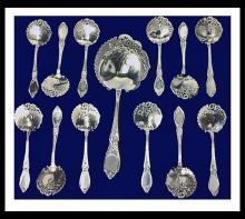 Rare Antique French 950 std silver strawberry set, Claude Doutre Roussel