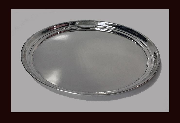 Art Deco hammered Silver Tray, Czechoslovakia C. 1920