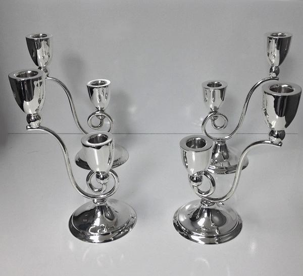 Rare set of 4 Juvento Lopez Reyes Sterling modernist Candelabra Mexico