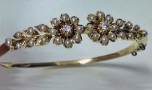 Antique Pearl and Diamond Bangle, English C.1900