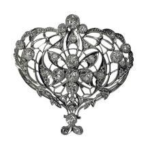 Edwardian Diamond Platinum Brooch, English C.1900
