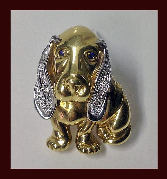 18K Diamond Basset Hound Brooch, Italian 20th century.