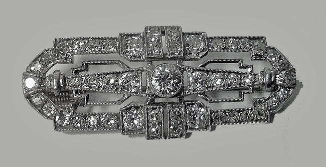 Art Deco Diamond Platinum Brooch, English C.1920.