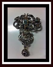18th century Georgian Emerald Diamond Brooch, Portugal or Spain C.1780