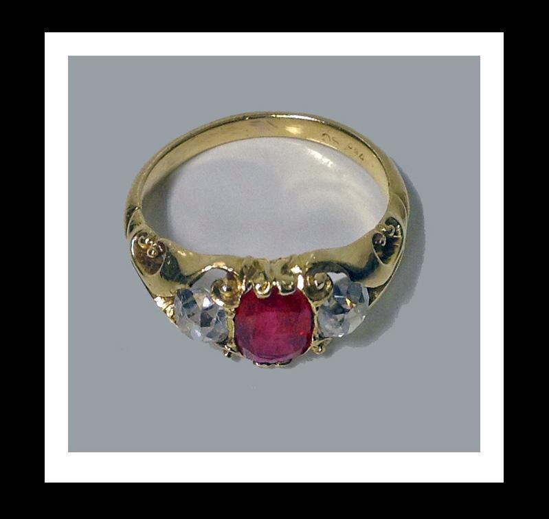 Fine Antique Ruby and Diamond 18K Ring, English C.1875