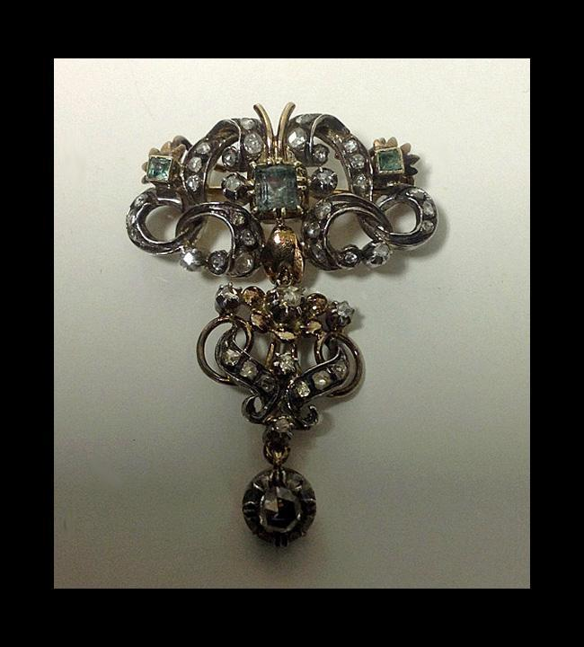 18th century Georgian Emerald Diamond Brooch, Portugal or Spain C.1780
