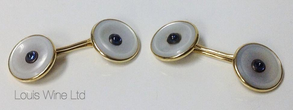 Sapphire, Gold mother of pearl double sided cufflinks, C.1930