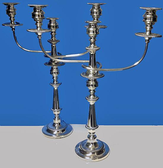 Pair of Antique Old Sheffield Plate Candelabra, English C.1810.