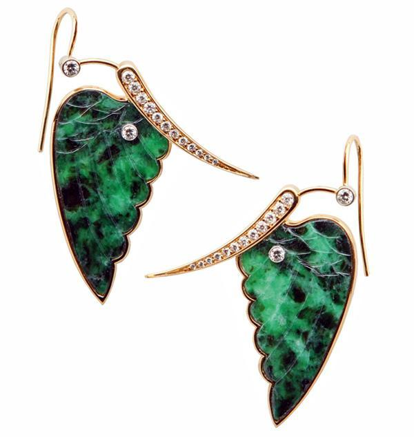 Pair of fine carved jade and diamond, 18K butterfly Earrings