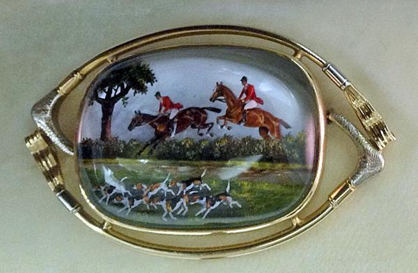 Very Fine Reverse Intaglio Crystal depicting `The Hunt', early 20th century.