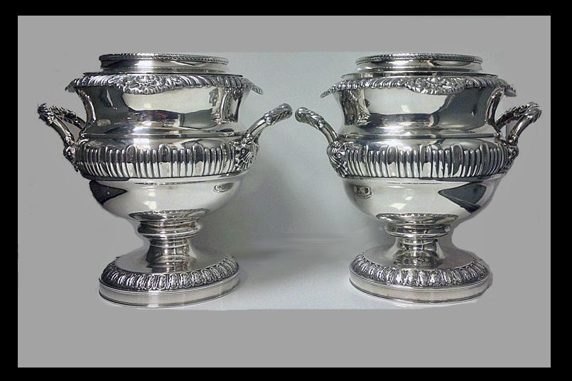 Fine Pair of Antique Georgian Old Sheffield Plate Wine Coolers, English, C.1815.