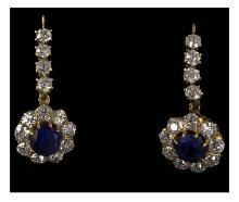Pair Antique Sapphire, Diamond 18K Earrings, English C.1870