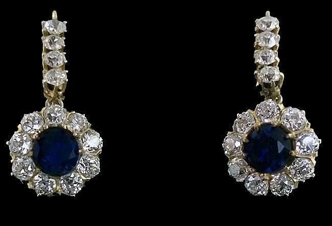 Pair Antique Sapphire, Diamond 18K Earrings, English C.1870