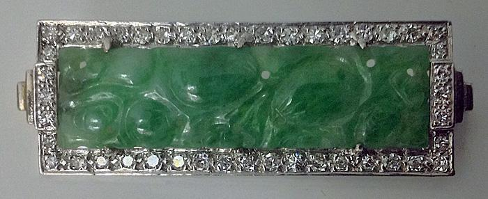 18K carved Jade and Diamond Brooch.
