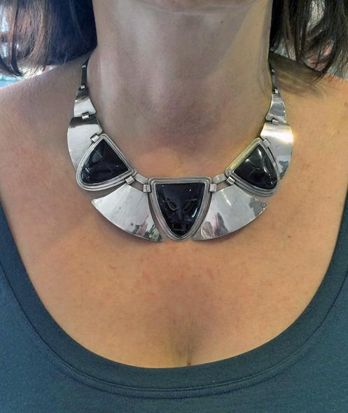 Fred Davis sterling obsidian mask Necklace, C.1930