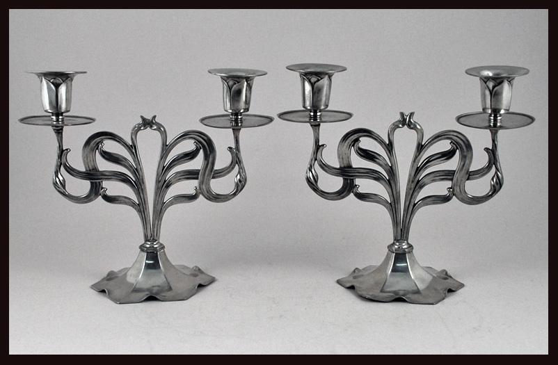 Orivit Jugendstil Secessionist Art Nouveau candelabra candlesticks, Germany C.1900
