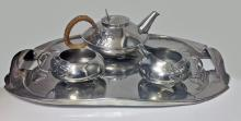 Archibald Knox Liberty Tudric pewter tea set, C.1905.