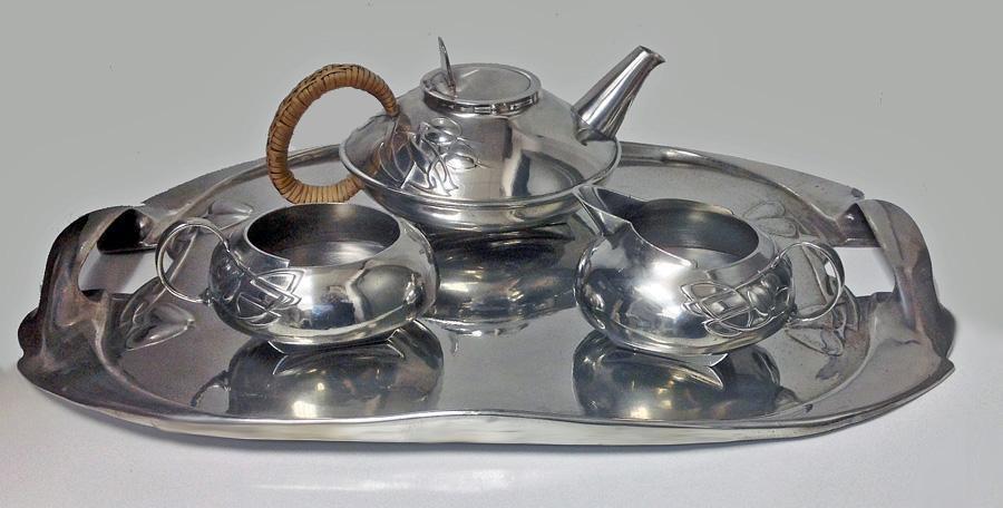 Archibald Knox Liberty Tudric pewter tea set, C.1905.