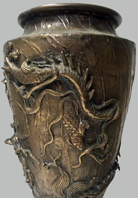 Oriental Bronze Vases, Meiji Period