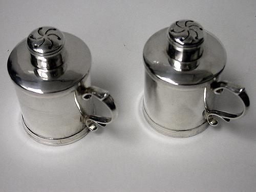 Unusual Miniature Tankard peppers Casters, London 1885, Martin Goldstein