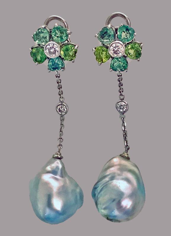 18K Baroque Pearl Diamond Green Sapphire Drop Earrings