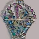 Dorrie Nossiter Arts and Crafts Jardiniere Gemstone  Gold Brooch Pendant, C.1930