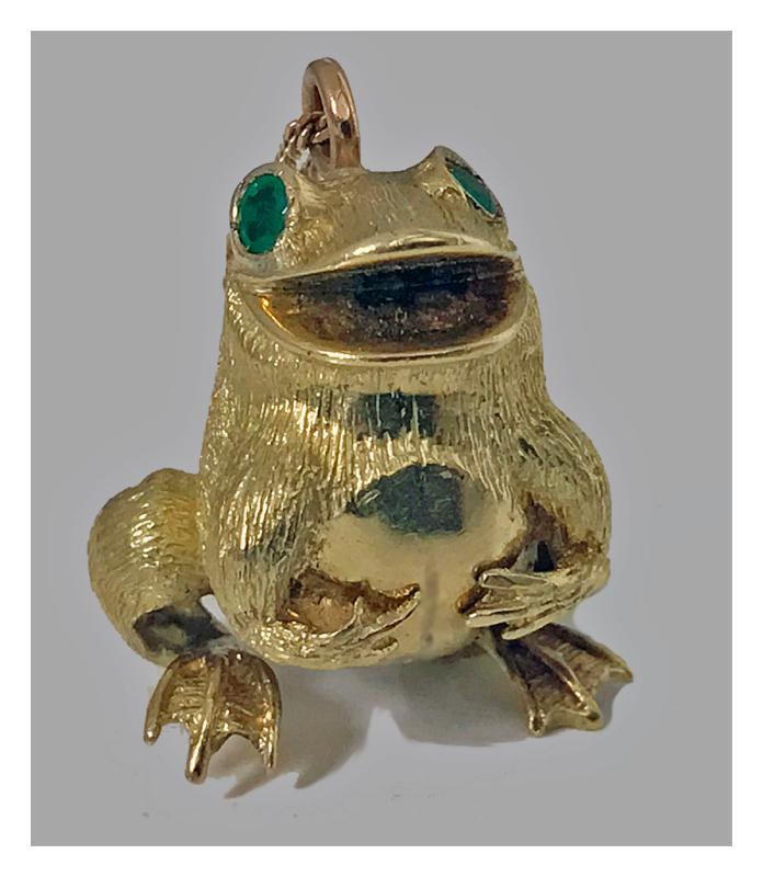 18K yellow gold and emerald frog Pendant, 20th century