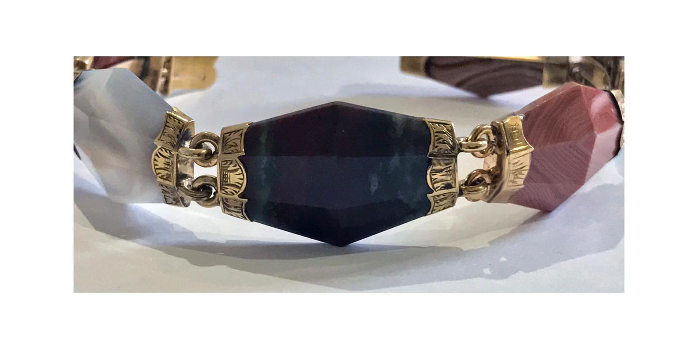 Scottish Gold Agate Bracelet, C.1875