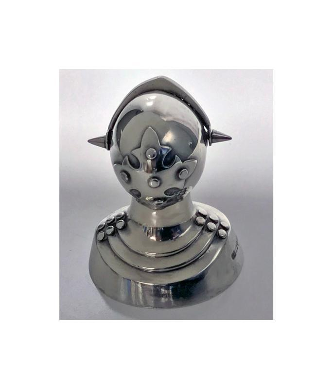 Antique Silver Novelty Caster of a Knight in Armour, Chester 1908 by G.U