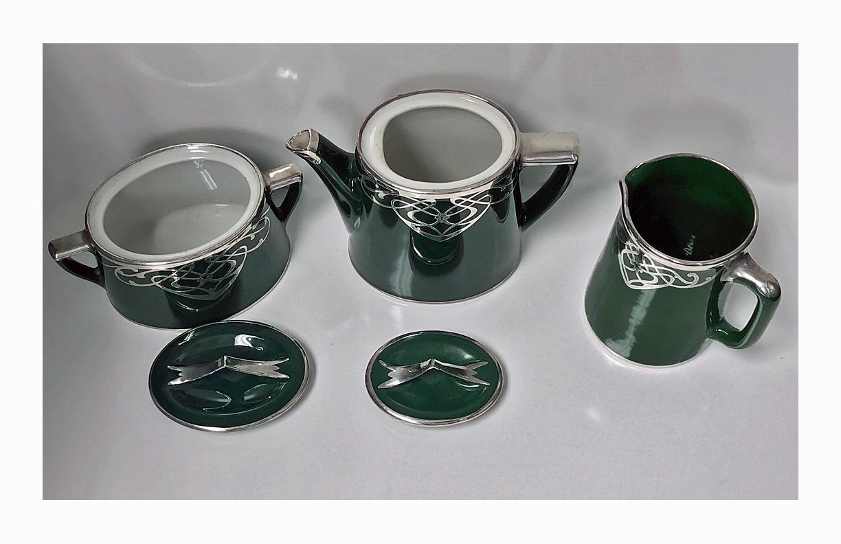 Art Nouveau Montreal China and Glass Decorating Co Sterling overlay Tea Set