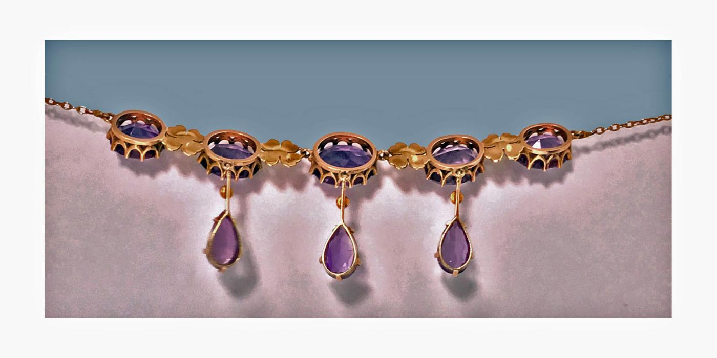 Antique 14K Amethyst Pearl Lavalier Necklace, American, C.1900