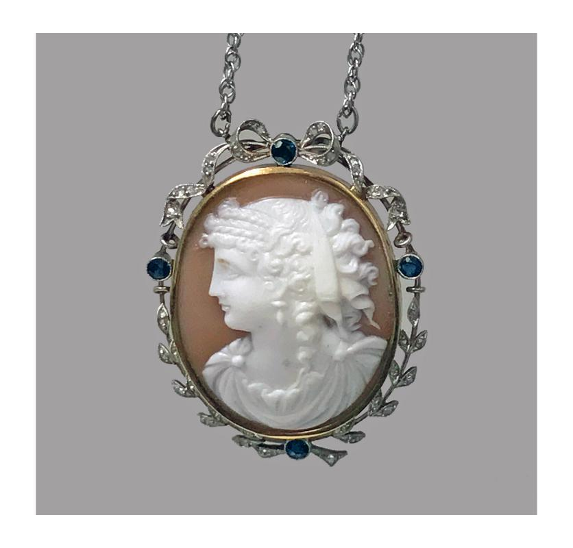 Antique Platinum 15K Cameo Pendant, Diamond Sapphire mount, English C.1920.