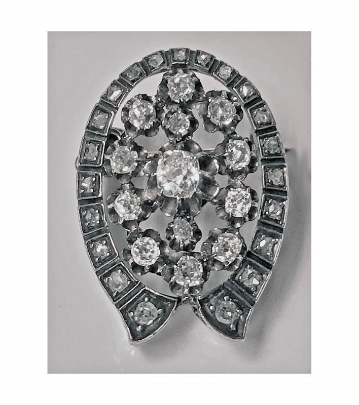 French 19th century Diamond Brooch Pendant, 18K and silver, C.1870