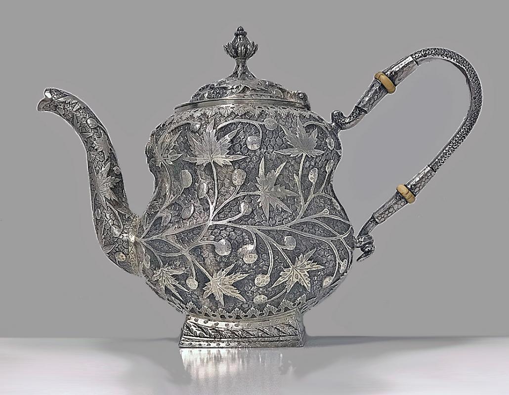 Rare Kashmir Silver Tea set for Western market, C.1910