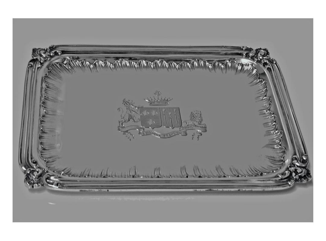 French 1st std (.950) Silver Regency style small Tray, C.1900, Frays Fils.
