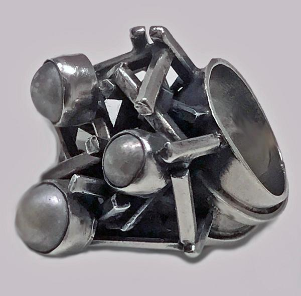 Rachel Gera Abstract Modernist Sterling Ring, Israel, C.1975.