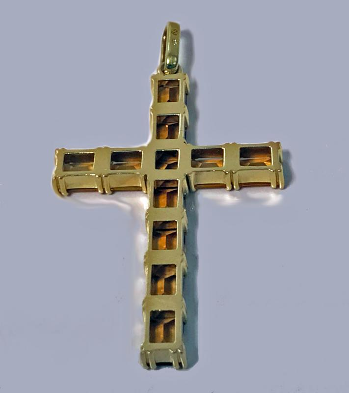 Gold Citrine Cross Crucifix Pendant, 20th century.