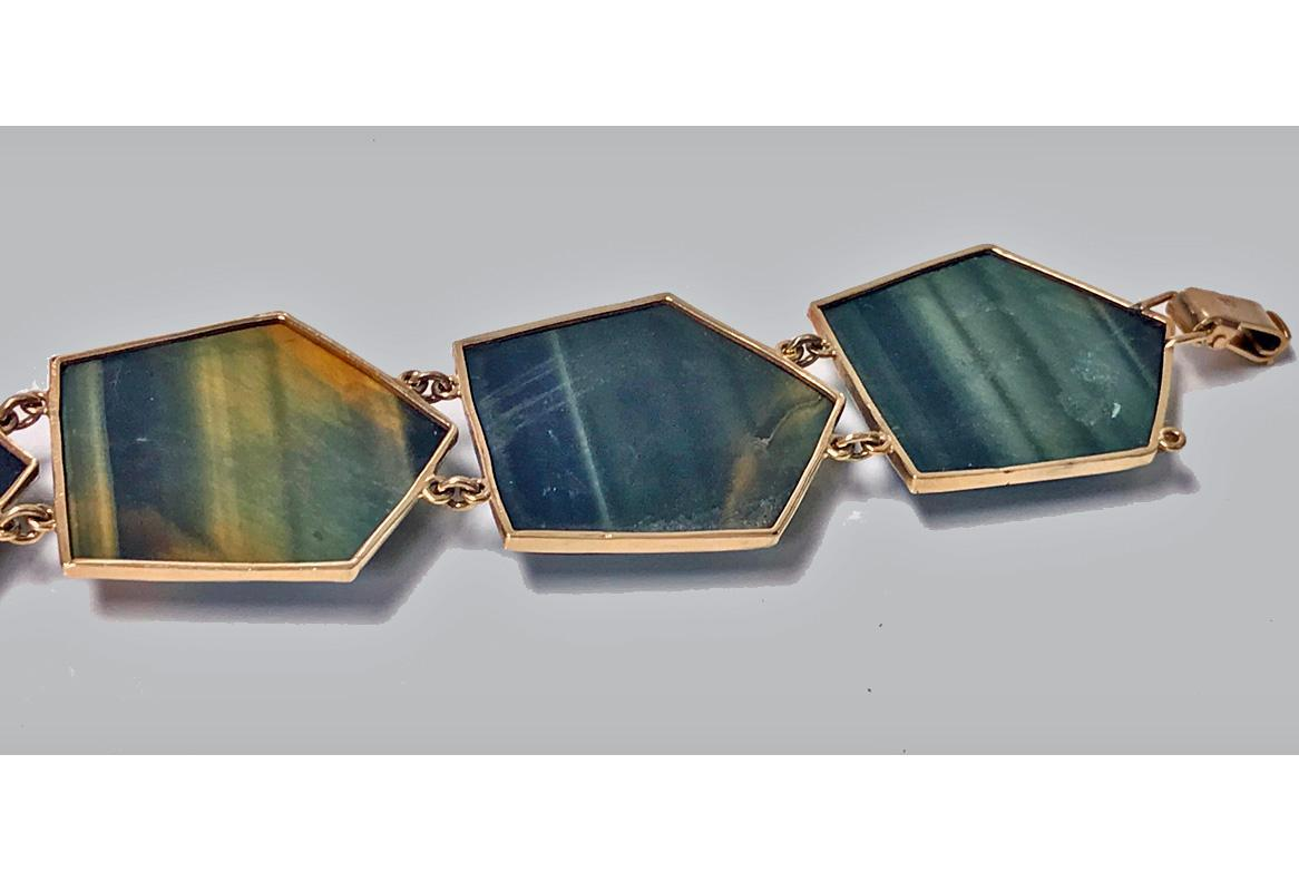 Mid century Modernism Scandinavian Gold and Labradorite Bracelet