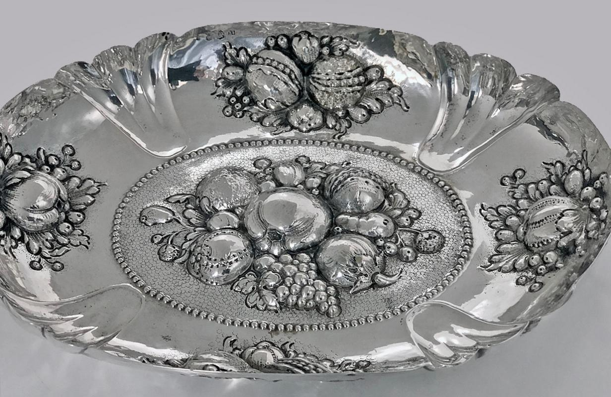17th century style Silver Fruit Dish, Germany Neresheimer C.1880