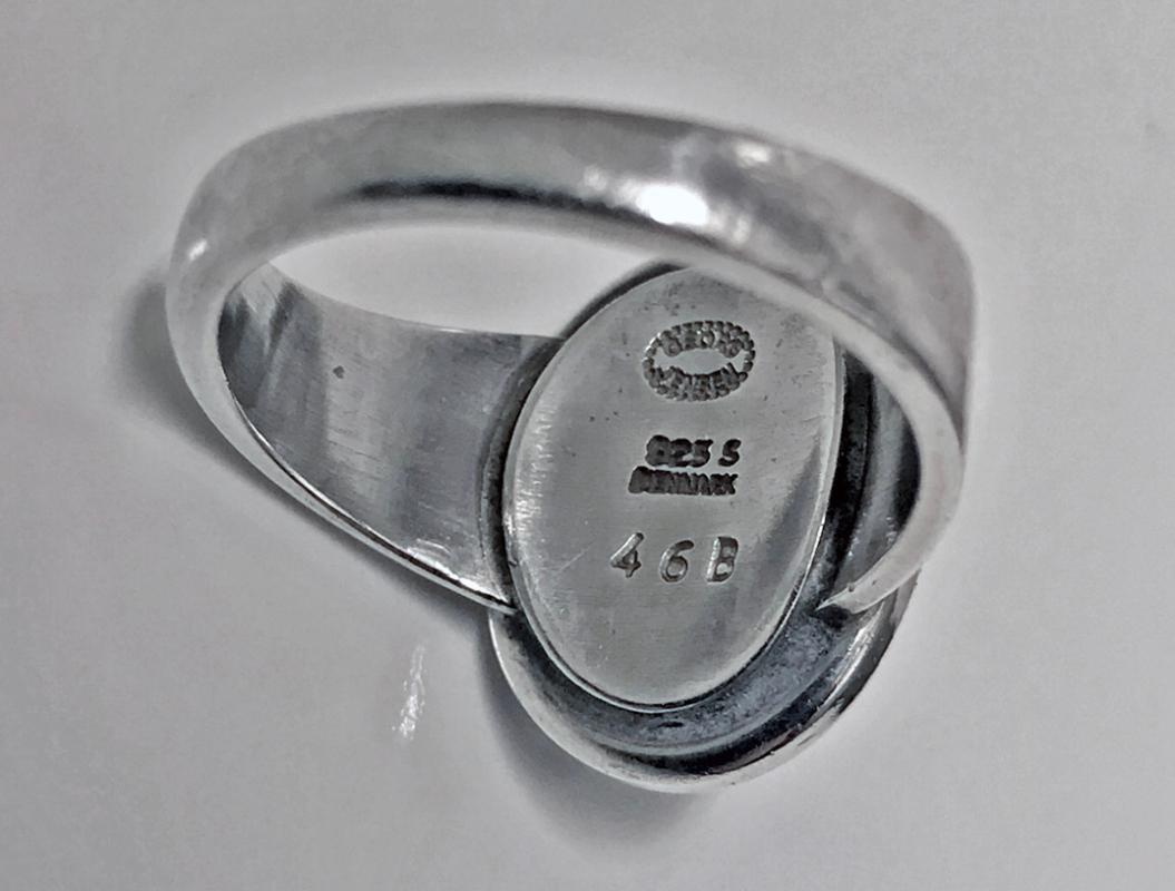 Georg Jensen Hematite Sterling Ring 46B