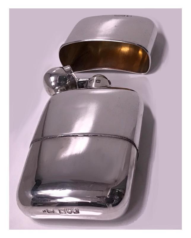 English Sterling Silver Flask, London 1914, Sampson Mordan Co.