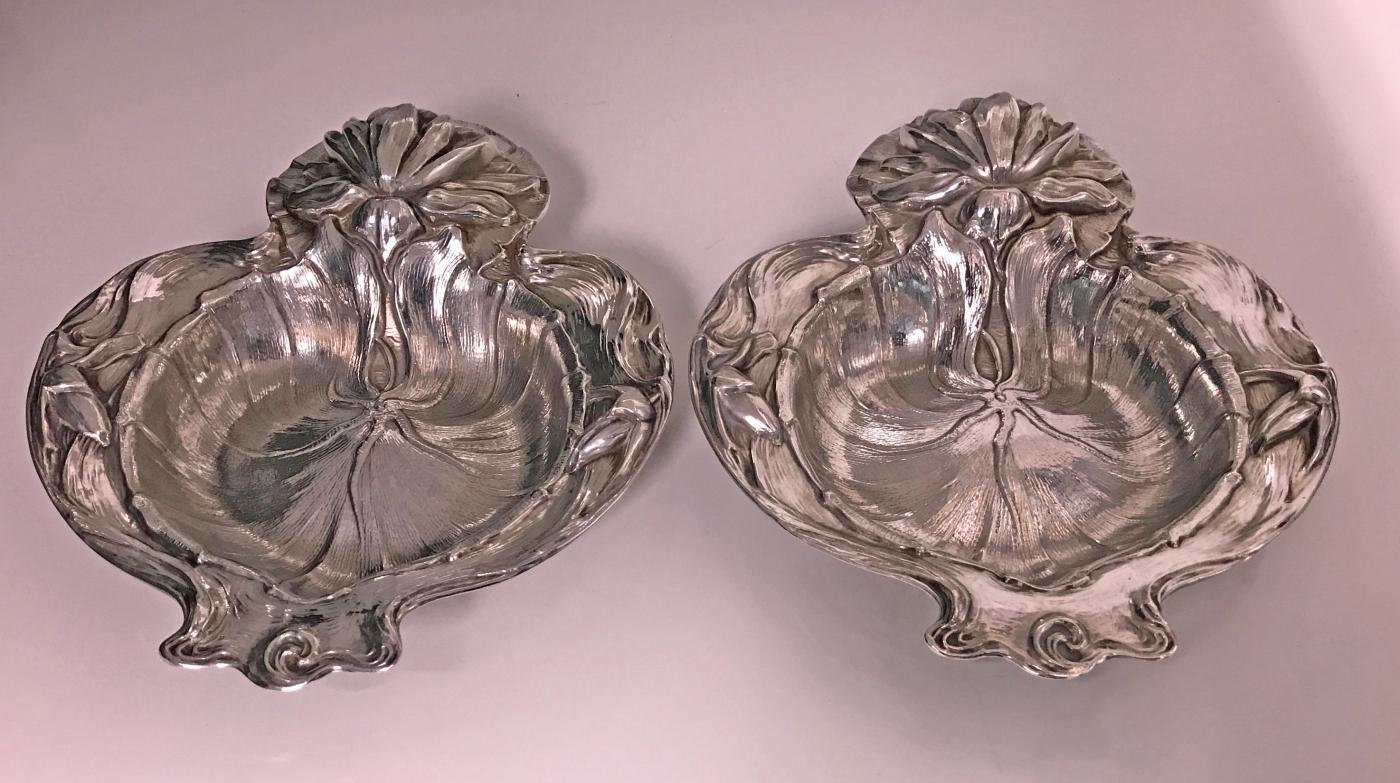 Pair Alvin Sterling Art Nouveau Dishes, New Jersey, C.1900