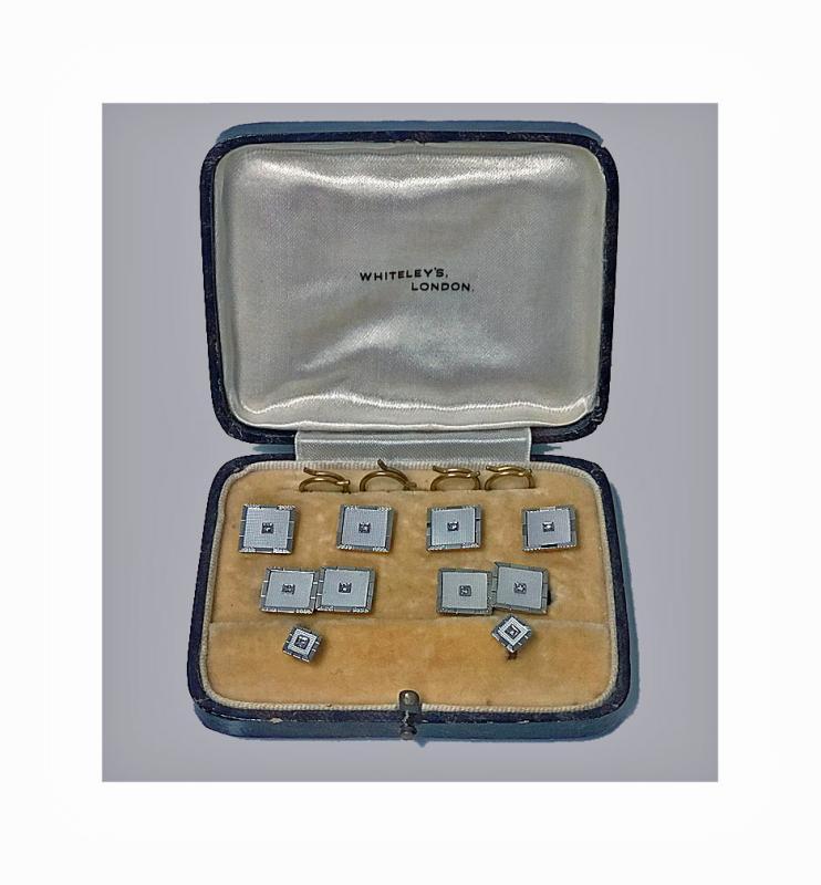 Deco Cufflinks Tuxedo Dress Set 18K Diamond Mother of Pearl, English C.1930