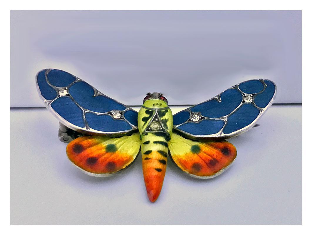 Meyle and Mayer Art Nouveau Jugendstil Butterfly Brooch Silver and Enamel, Germany C.1900