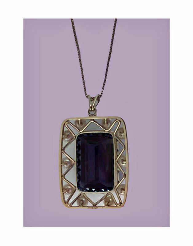 Mid-century 14K quartz and cultured pearl Pendant Necklace, C.1960.