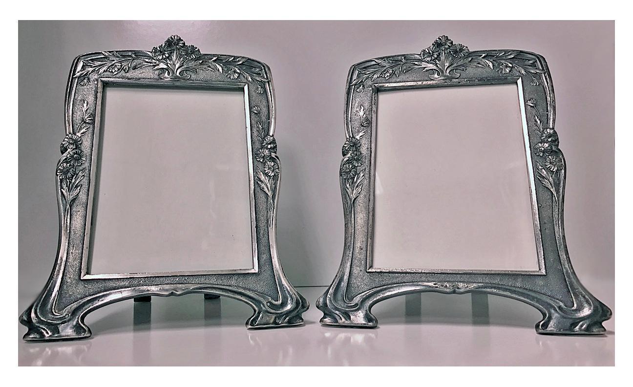 Pair Christofle Art Nouveau Pair of Photograph Frames, C.1900