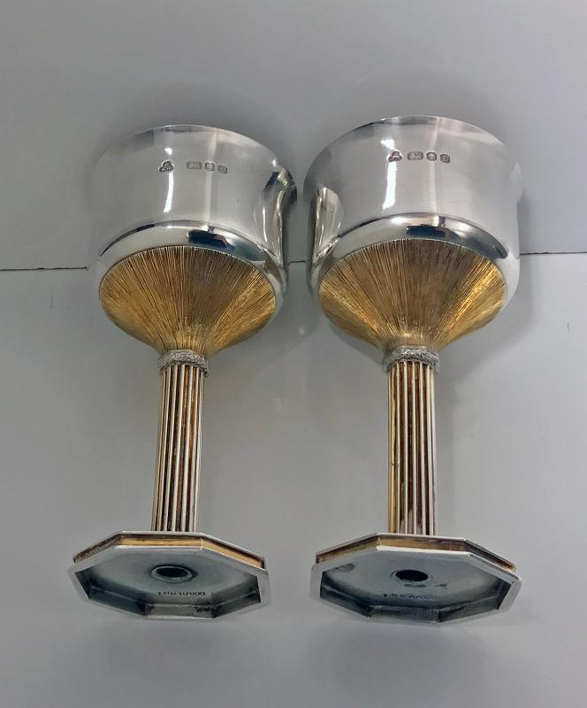 Pair of Sterling Silver and Gilded Goblets, London 1978, Wakely and Wheeler