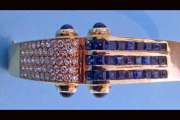 18K Diamond and Sapphire Bangle and Earrings, C.1980