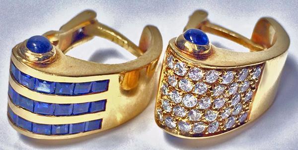 18K Diamond and Sapphire Bangle and Earrings, C.1980