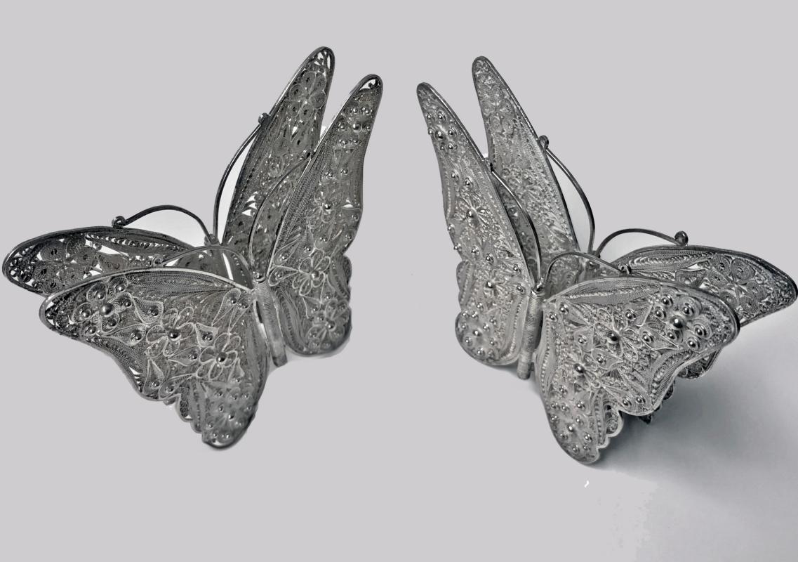 Pair Large Butterfly Filigree Sterling Silver Napkin Serviette Holders